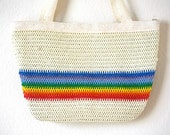 30% OFF SALE Rainbow Tote Bag Woven Off White Carry All  Vtg 80s