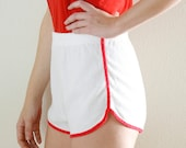 70s Terry Cloth Jogging Shorts White with Red Trim Medium