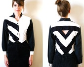 Cut Out Triangle Western Cropped Blouse Black and White Vintage 80s Small to Medium