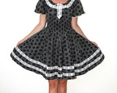 Rockabilly Partners Please Square Dancing Dress Black and White Polka Dots & Floral Lace Trim Medium to Large