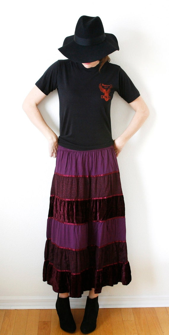 SALE  Purple Crushed Velvet Tiered Gypsy Maxi Skirt