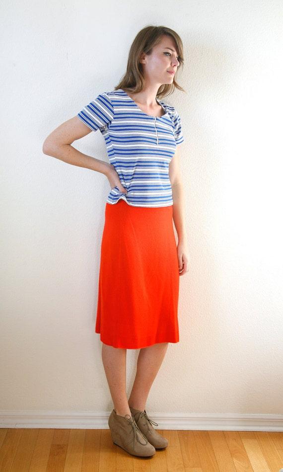 Tangerine Blood Orange Cashmere Skirt Medium Large Vintage 70s