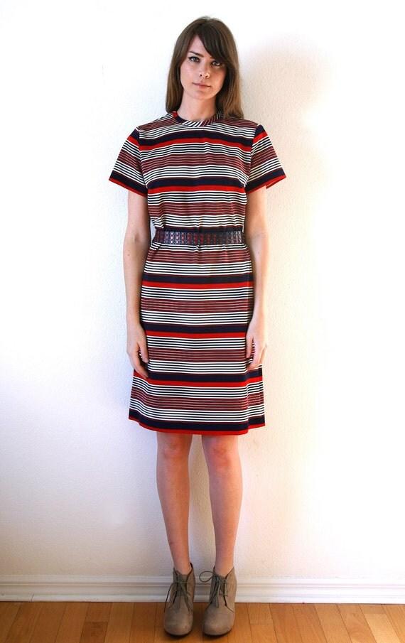 Mod Dress Striped Shift Dress with Matching Belt Vintage 60s Lady Carol Large