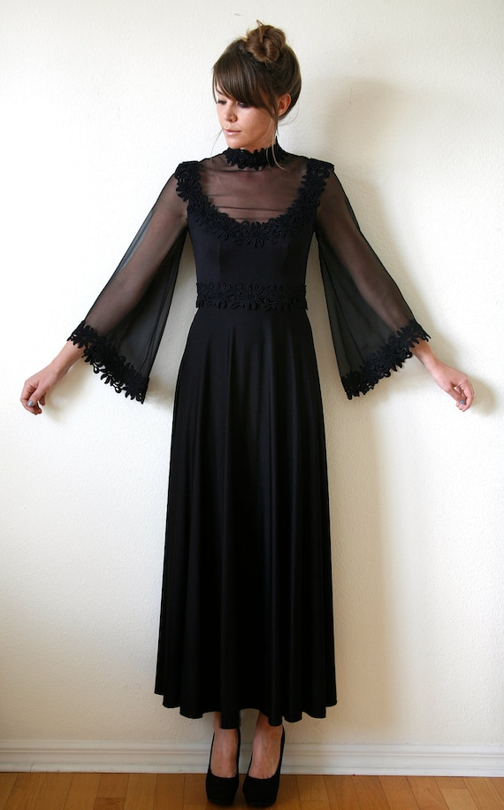 70s Witchy Maxi Dress Black Sheer Bell Sleeve By