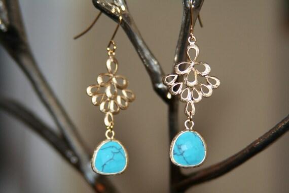 Gold & Turquoise Dangle Earrings