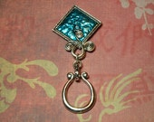 """Eyeglass/Sunglass holder, magnetic """"brooch"""" style, silver square design with aqua blue enamel and stone, scroll style silver hoop"""