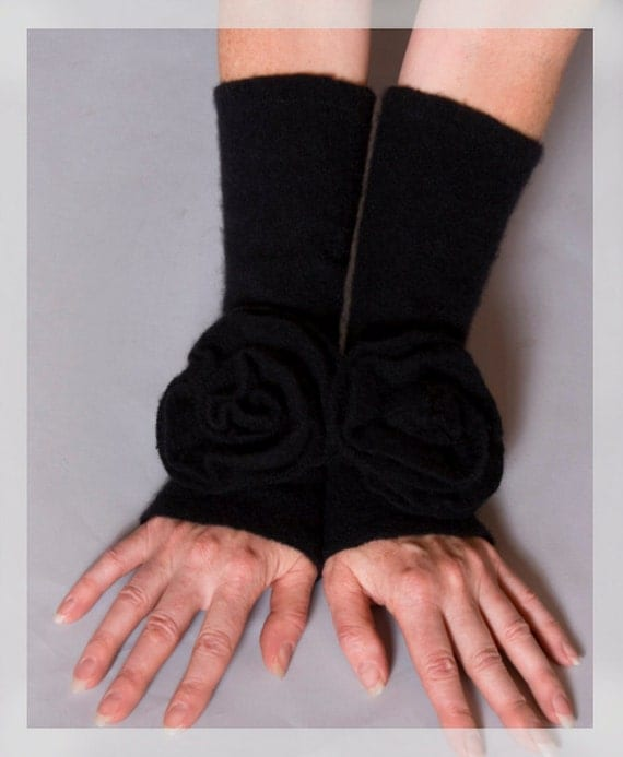 Free USA shipping Through Jan,  End of year Clearance: orignally 36 dollars-now only 18, Black cashmere arm warmers, matching rosette.