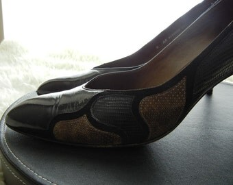 Bally Snake Skin Shoes Black leather dress Shoes Gift Idea for her Women's Vintage Size 9 Retro Designer Shoes High Heel Pumps Ladies Shoes