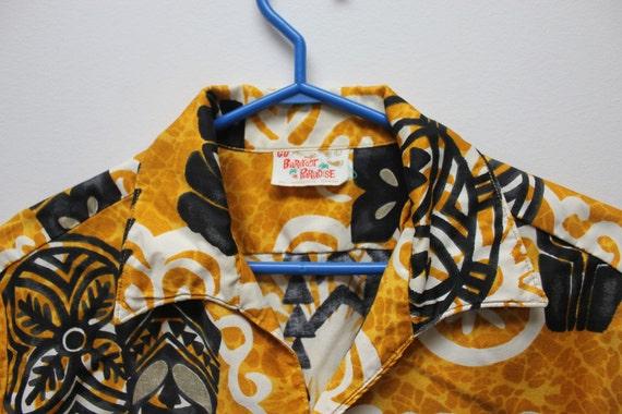 Large Shirt Tribal tiki Shirts Yellow Gold Black Shirt Vintage Hawaiian Shirt Barefoot Paradise Aloha Shirt American Vintage Cotton Shirt