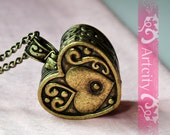 Antiqued Brass Heart Shaped Photo Box Necklace, can be open