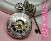 Rome Number Golden Dial Pocket watch necklace(Big Size), with brass key,