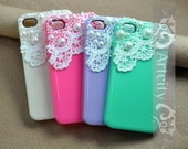 Pretty Lace and Pearl iPhone 4 case, iPhone 4s case, Hard iPhone case, iphone cover ,iphone 4 cover, case for iPhone 4/iphone 4S