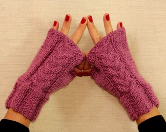 Pink Gloves, Knit Fingerless Gloves, Knit Cable Pink Wrist Warmers, Chunky Arm Warmers, Magenta Wool Mittens Gloves Women Winter Accessories