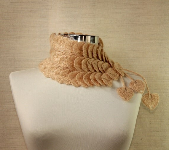 Crochet Caramel Lace Scarf Neck Warmer / Chunky Cowl / Fall Wedding / Fall Fashion