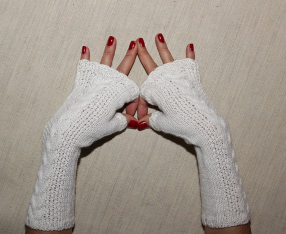 Hand Knit Crochet White Fingerless Gloves  / Pure Wool Wrist Warmers / Knit Cable Gloves /Winter Accessories