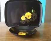 Couroc Serving Tray and Bowl Set California Poppy