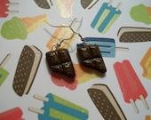 Polymer clay chocolate bar ear-rings