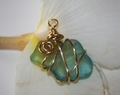 Wire Wrapped Blue Seaglass Pendant