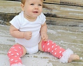 Pink & White Polka Dotted Leg Warmers with White Chiffon Ruffle