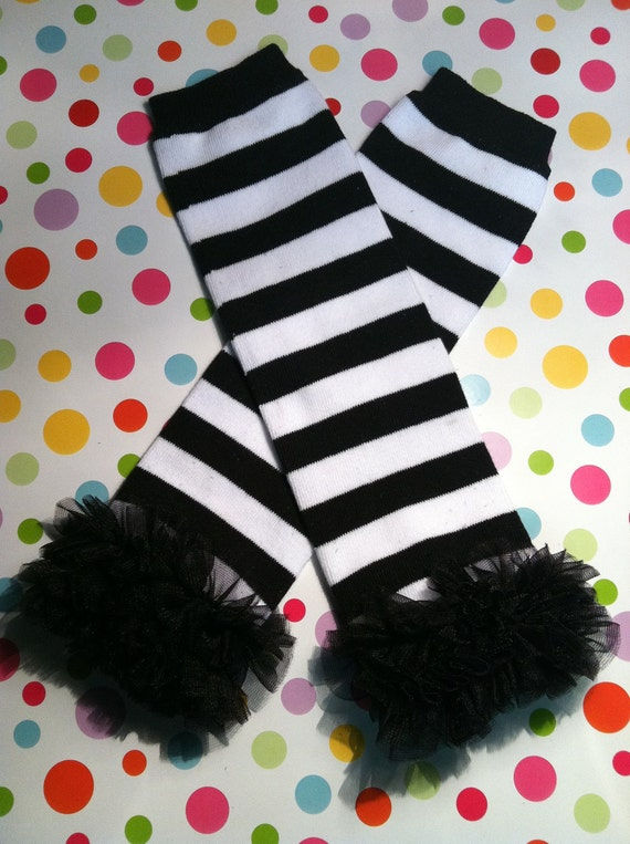 Baby Girls Black & White Striped Leg Warmers with Black Chiffon Ruffle-Sz 6mo-8yrs