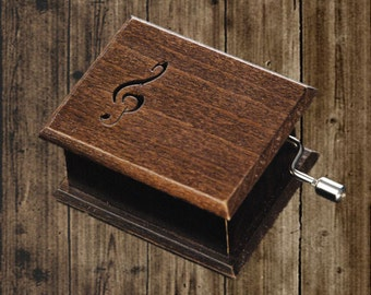 Wooden music box treble clef music box walnut music box Beethoven: Für Elise