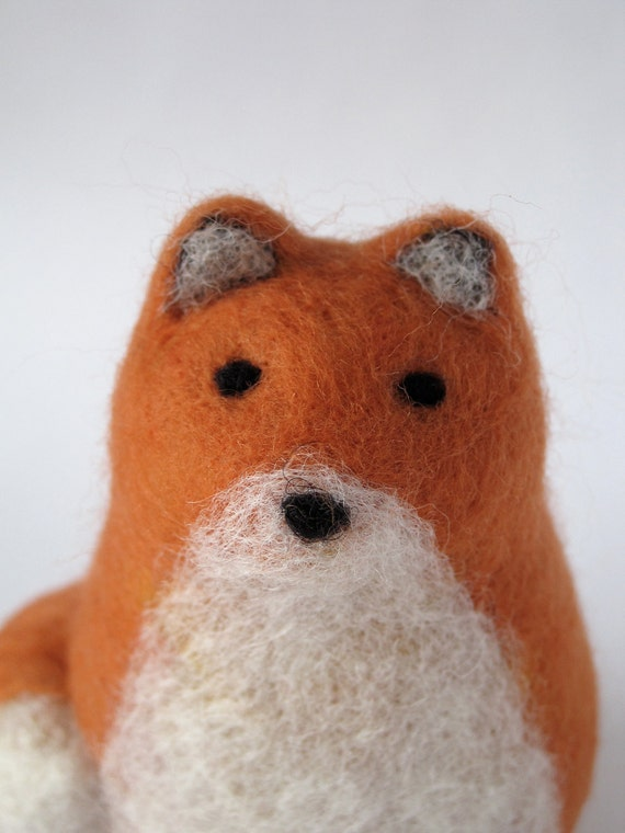 Red Fox Needle Felted Wool Sculpture - Free Shipping