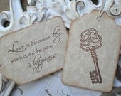 Love Quote & Skeleton Key Wedding Favor Tags - Set of 10