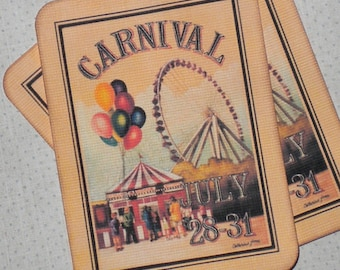 Vintage Carnival Cards (6) Carnival Gift Tags-Circus Tags-Circus Note Cards-Circus Embellishment-Carnival Embellishment-Circus Scrapbooking