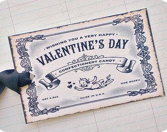 Vintage Style Valentine's Day Tags - Set of 6