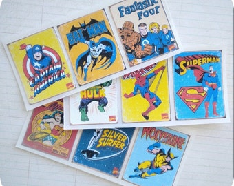 Vintage Superhero Stickers (9) - Envelope Seals-Favor Stickers-Superhero Party-Superhero Birthday-Batman-Superman-Retro Superhero Theme