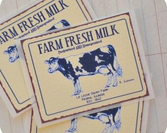 Farm Fresh Milk Stickers - Set of 8 - Treat Bag Stickers-Stickers-Milk Labels-Shabby Stickers-Shabby Vintage Stickers-Milk Tags-Cow Stickers