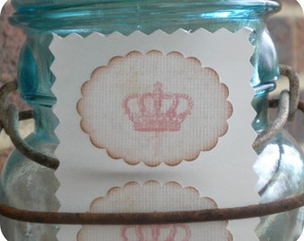 Shabby Princess Crown Stickers / Envelope Seals - Vintage - Cottage Chic - Any color - Set of 12 - Weddings, Baby, Cupcake Toppers, Showers