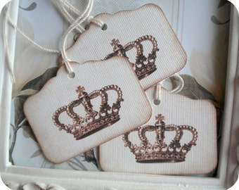 Antique Crown Gift Tags (10) Favor Tags-Treat Tags-Birthday Gift Tags-Princess Party Tags-Prince Party Tags-Royal Party Tags-Candy Bag Tags