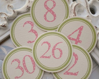 Pink/Green Number Circles (31) Number Tags-Number Labels-Calendar Numbers-Embellishment-Calendar Labels-Calendar Circles-Number Sticker