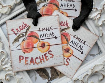 Peach Gift Tags (6) Tags for Food Gifts-Food Labels-Peach Favor Tags-Treat Tags-Fruit Gift Tags-Jar Labels-Shabby Gift Tags-Thank You Tags