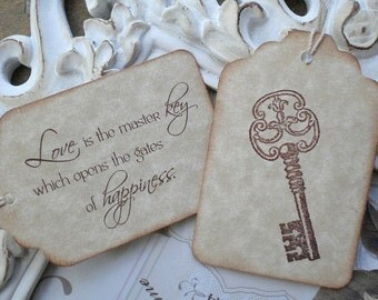 Love Quote Skeleton Key Wedding Favor Tags 10 Bridal