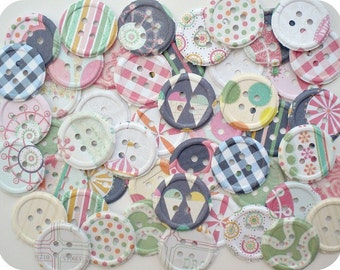 Shabby Carnival Paper Buttons (48) - Button Die Cut-Button Embellishment-Card Making Supplies-Button Punch Out-Paper Destash-Shabby Buttons