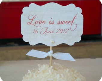 Personalized Love is Sweet Cupcake Toppers - Any Color - Set of 10