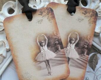 Vintage Ballerina Favor Tags - Set of 6