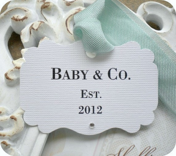 tiffany and co personalized baby co shower favor tags w gems