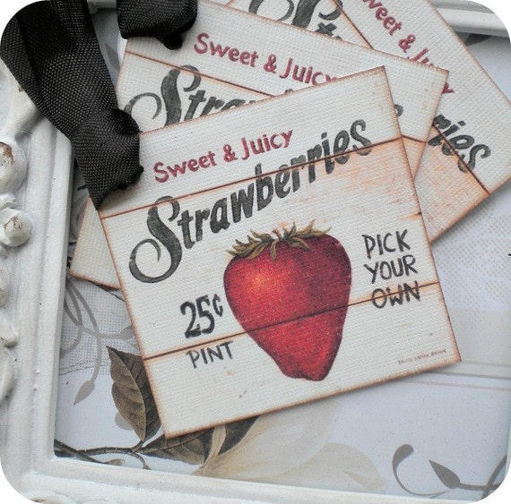 Strawberry Tags (6) Food Tags-Gift Tags-Food Labels-Favor Tags-Treat Tags-Gift Wrap Tags-Jar Labels-Shabby Gift Tags-Vintage Style Tags