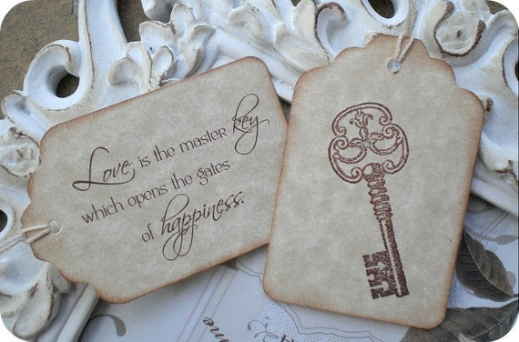 Bridal Shower Favor Tags Sayings : Items similar to Love Quote amp Skeleton Key Wedding Favor Tags Set of