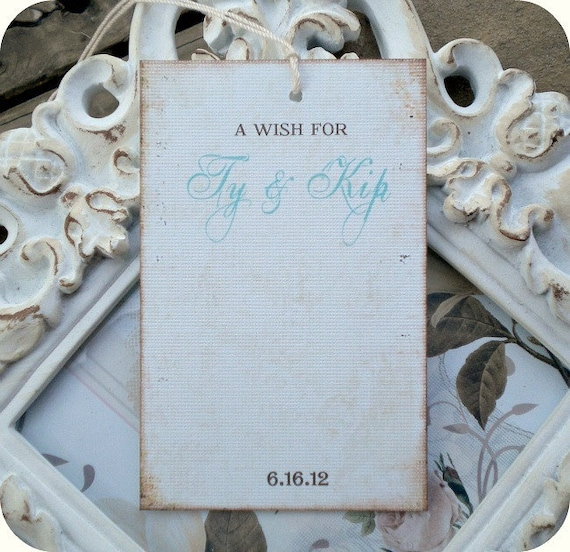Personalized Wedding / Bridal Shower Wish Tree Tags - Vintage Inspired - Cottage / Shabby Chic - Set of 12 - Showers, Favors