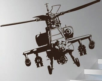 Apache helicopter Wall Art / Wall Stickers / Wall Decals from AmazingSticker