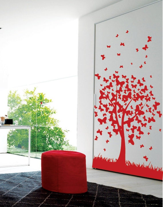 Butterfly branch Tree Wall Art / Wall Stickers / Wall Decals from AmazingSticker