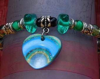 HEART BRACELET, Stainless Steel, Semi Precious Stones, Green Blue, Glass, Bali Silver, Resin,  Elegant , Innovative, Dare  to Wear, OOAK