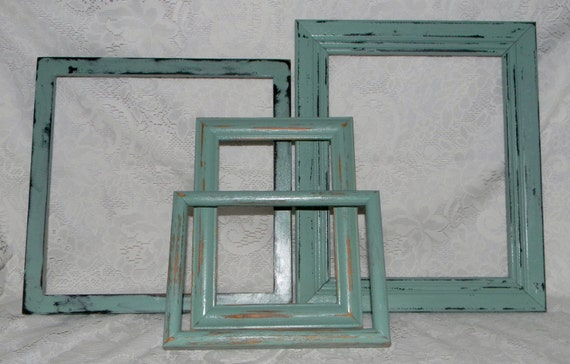 Distressed Picture Frames Set Of 4 Jade Shabby Cottage Chic Wall Decor