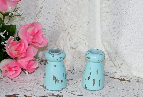 Cottage Chic Candlesticks Candle Holders 2 Pc  Distressed Blue French Country Home Decor