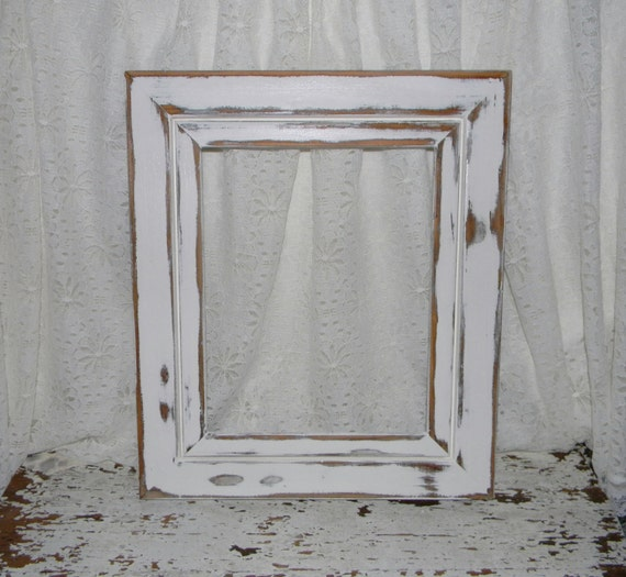 Shabby Chic Picture Frame Distressed White Cottage Home Decor