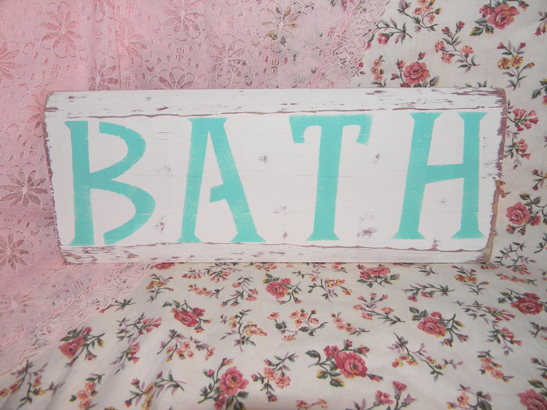 Cottage Bathroom Wall Decor : Cottage chic bathroom sign wall decor distressed shabby beach
